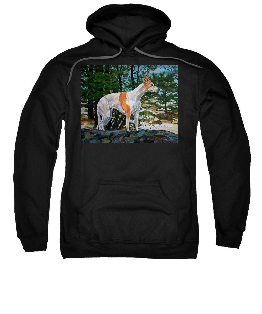 Whippet Sweatshirt featuring the painting Trailblazer by Derrick Higgins