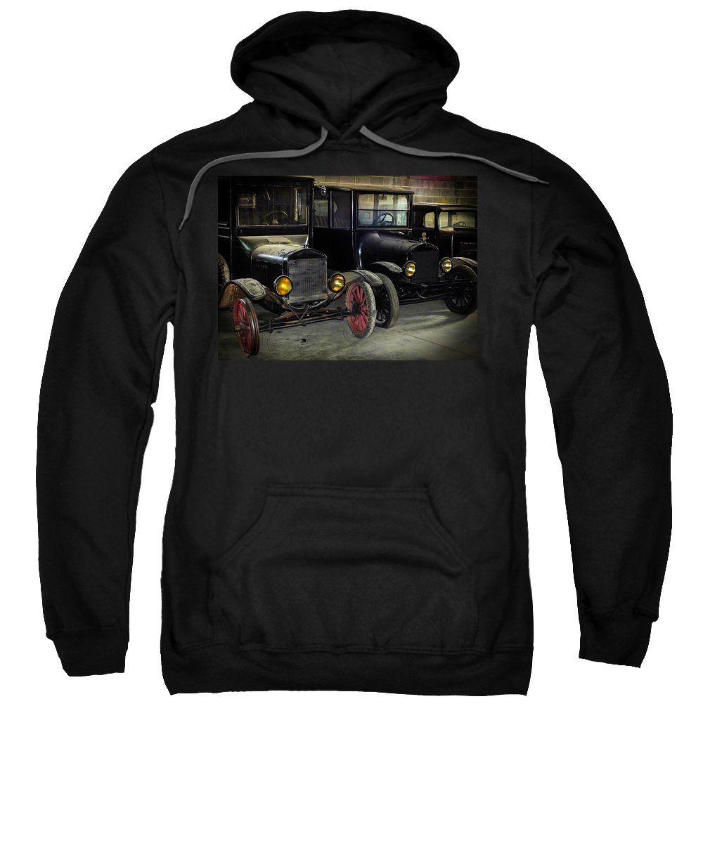 Antique Cars Sweatshirt featuring the photograph Treads Of Time by Karen Wiles