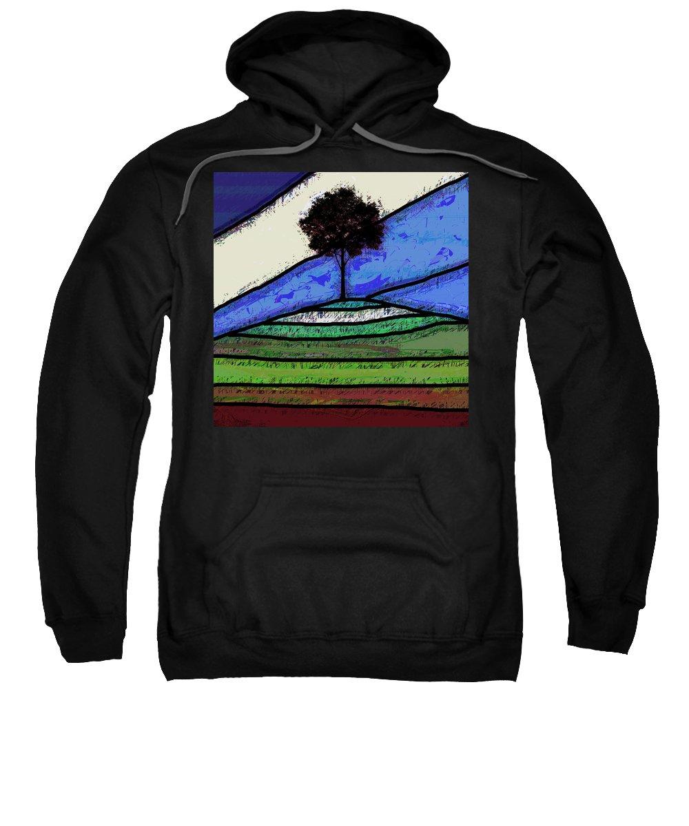 Tree Sweatshirt featuring the digital art Tree On The Hill by David G Paul