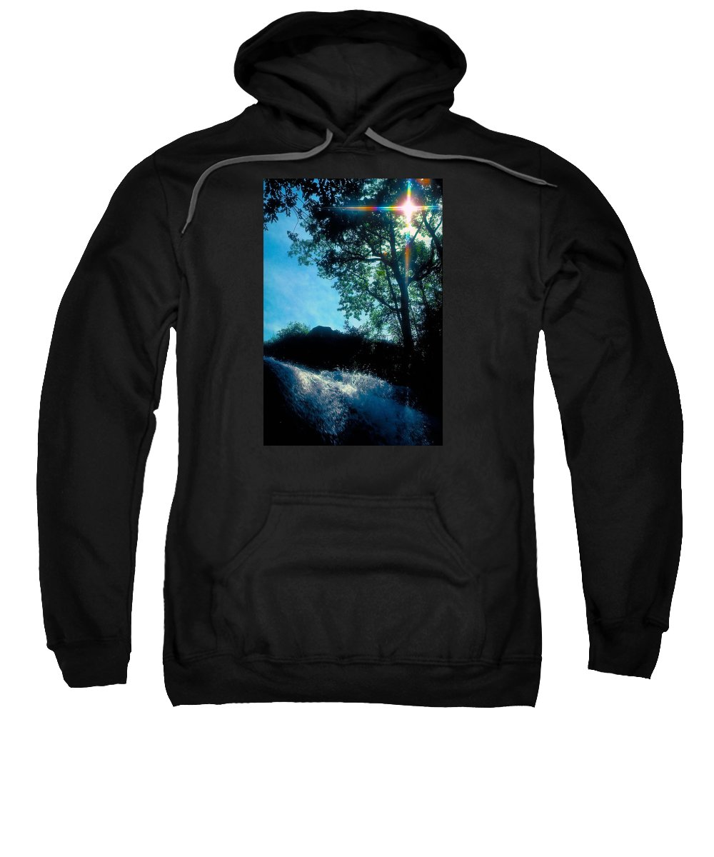 Waterfall Sweatshirt featuring the photograph Tree Planted By Streams Of Water by Marie Hicks