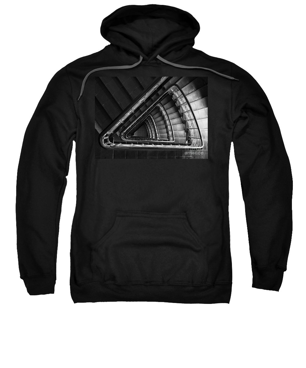 Interior View Sweatshirt featuring the photograph Triangle Staircaise In Bw by Jaroslaw Blaminsky