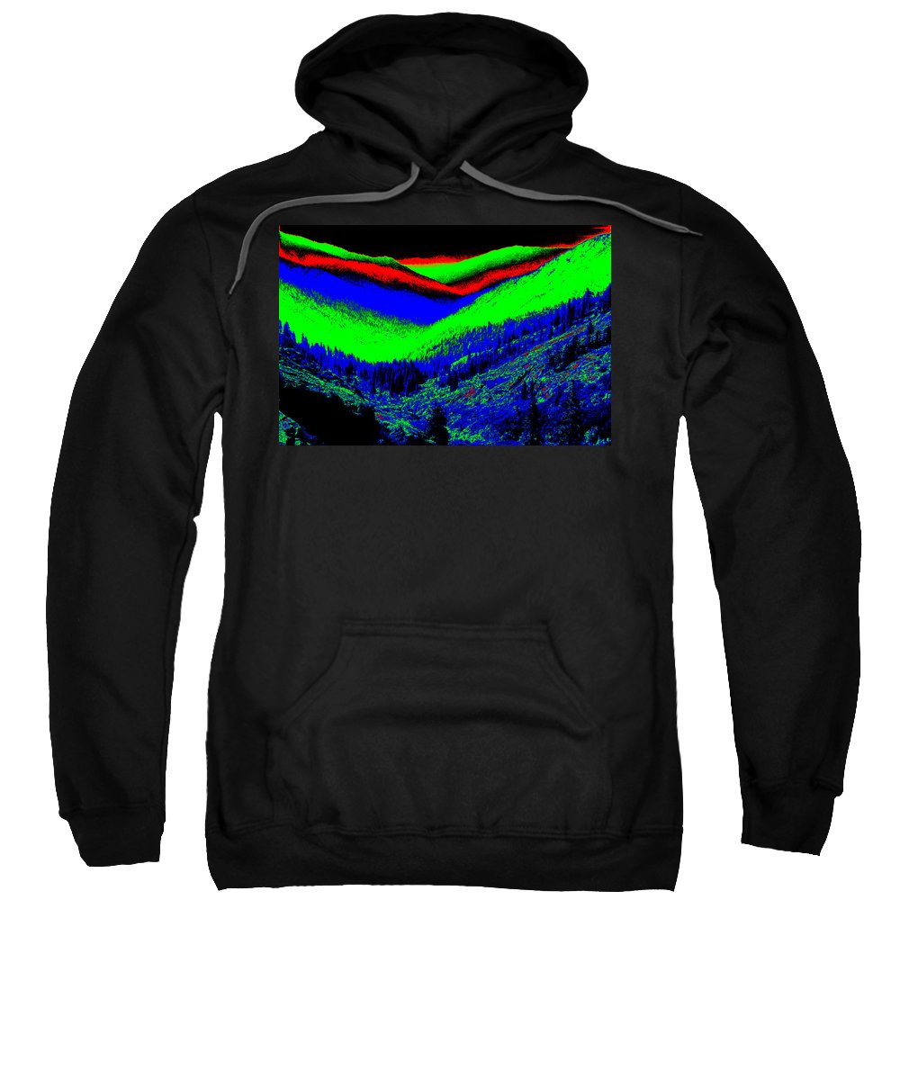 Mountains Sweatshirt featuring the photograph Trinity #2 Enhanced In Cosmicolors #2 by Ben Upham III