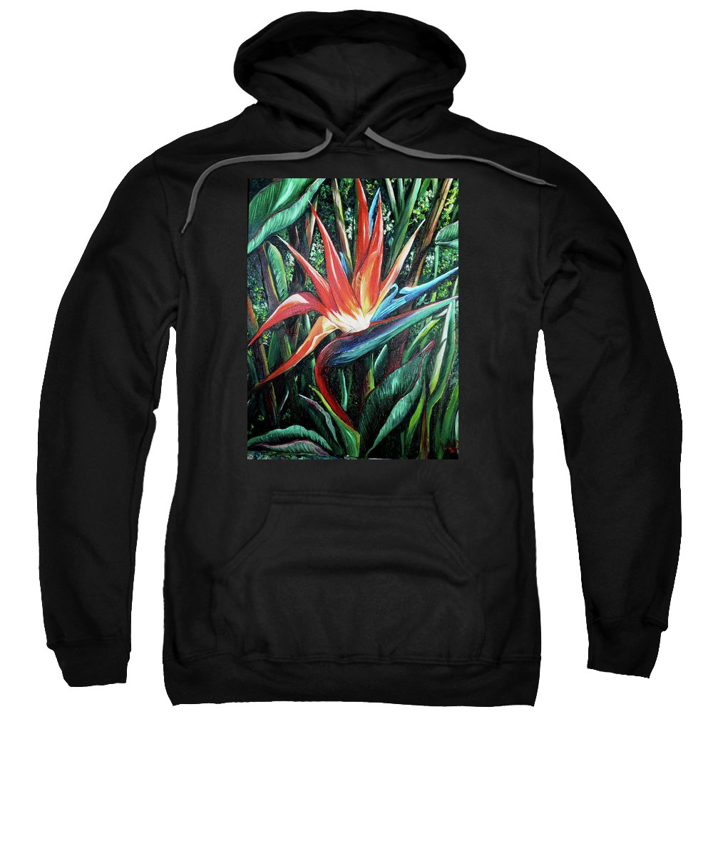 Floral Sweatshirt featuring the painting Tropical Bird by Karin Dawn Kelshall- Best