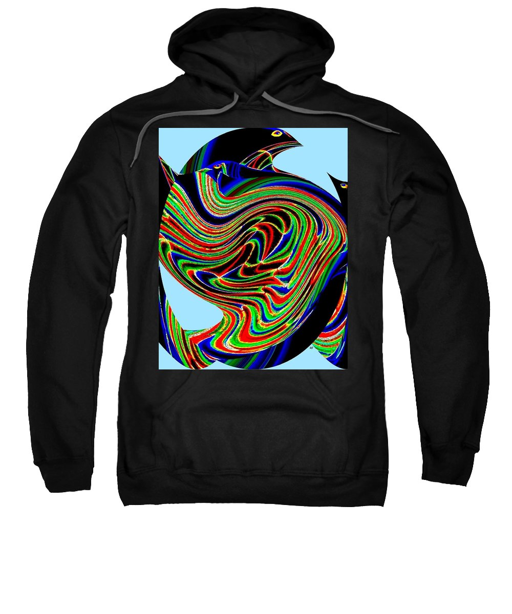 Abstract Sweatshirt featuring the digital art Tropical Bird Trio by Will Borden