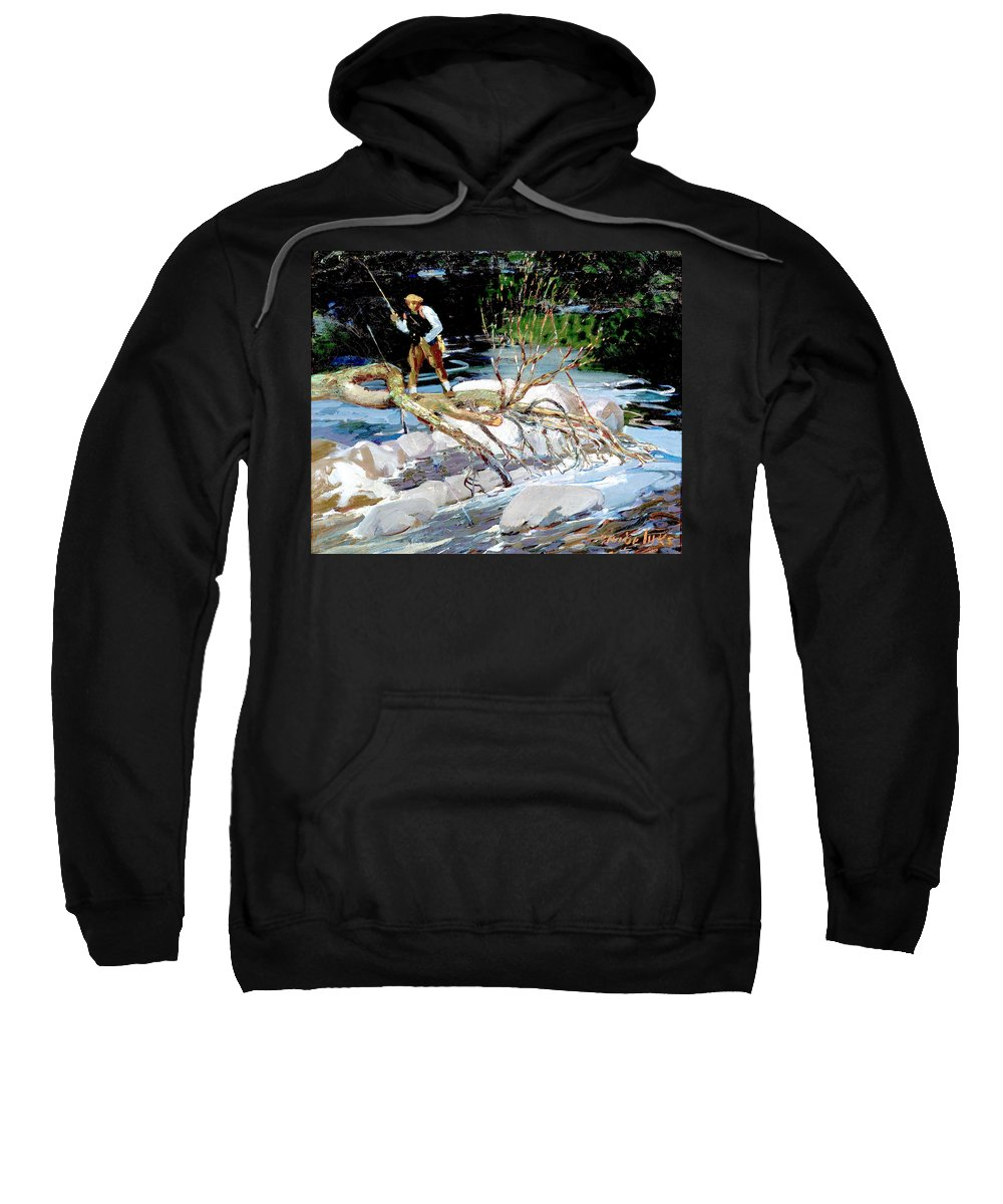 George Benjamin Luks Sweatshirt featuring the photograph Trout Fishing by George Benjamin Luks