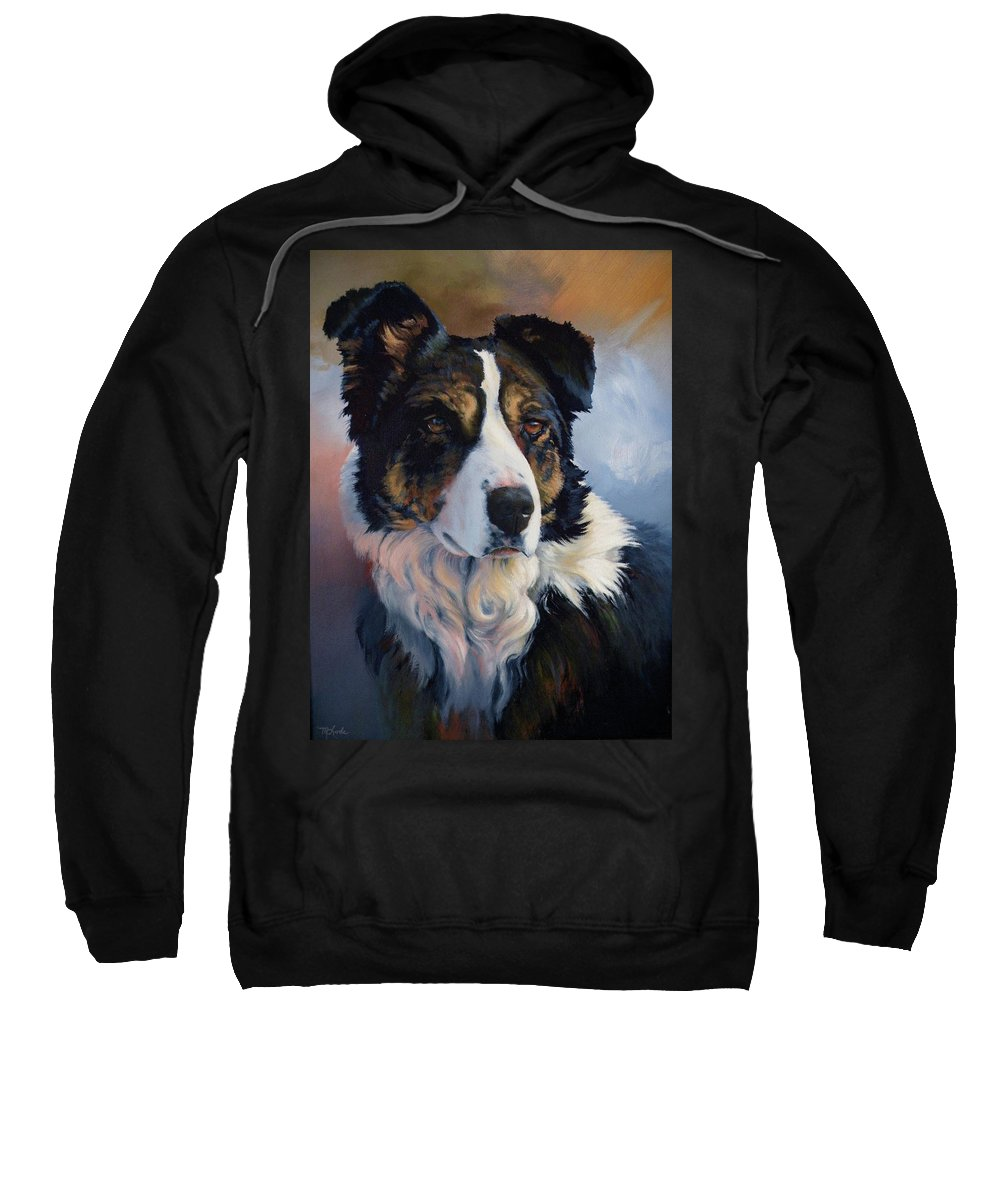 Stock Dogs Sweatshirt featuring the painting Trudy by Mia DeLode