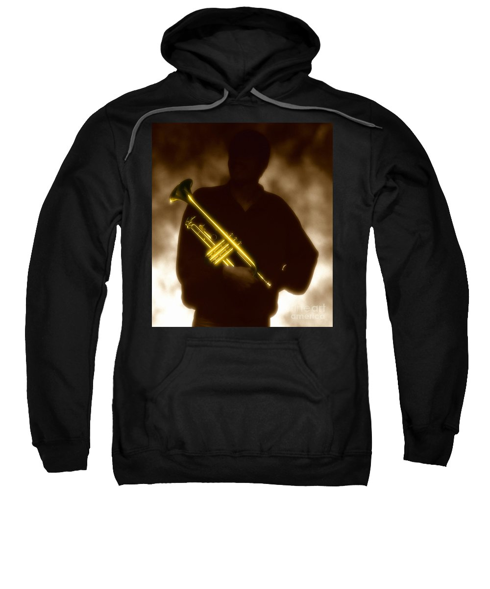 Jazz Sweatshirt featuring the photograph Man holding Trumpet 1 by Tony Cordoza