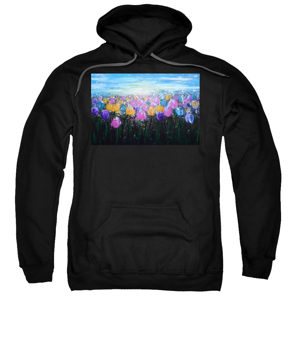 Colorful Sweatshirt featuring the painting Tulips At Sunrise by Kume Bryant