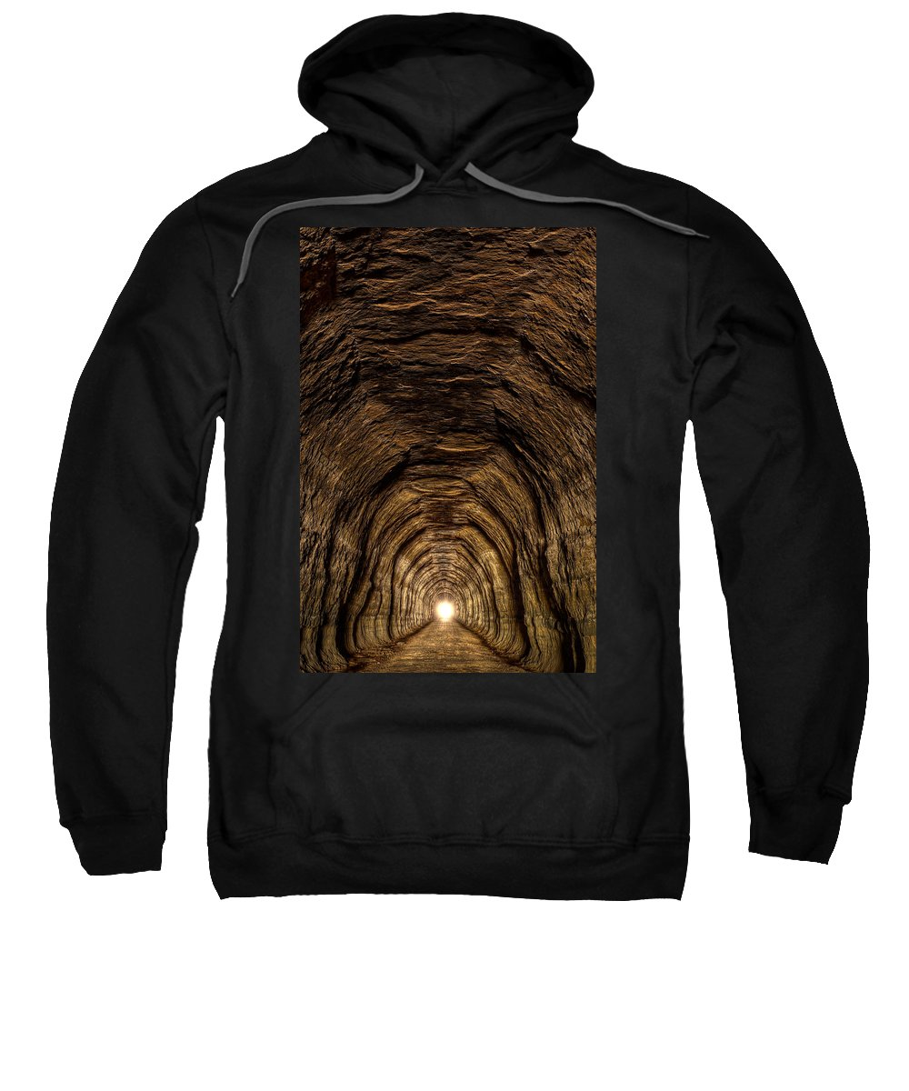 Bike Sweatshirt featuring the photograph Tunnel 3 On Elroy To Sparta Bike Trail Wisconsin by Steve Gadomski