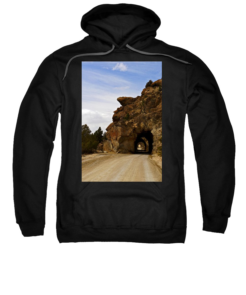 Arkansas River Sweatshirt featuring the photograph Tunnel Road by Jeremy Rhoades