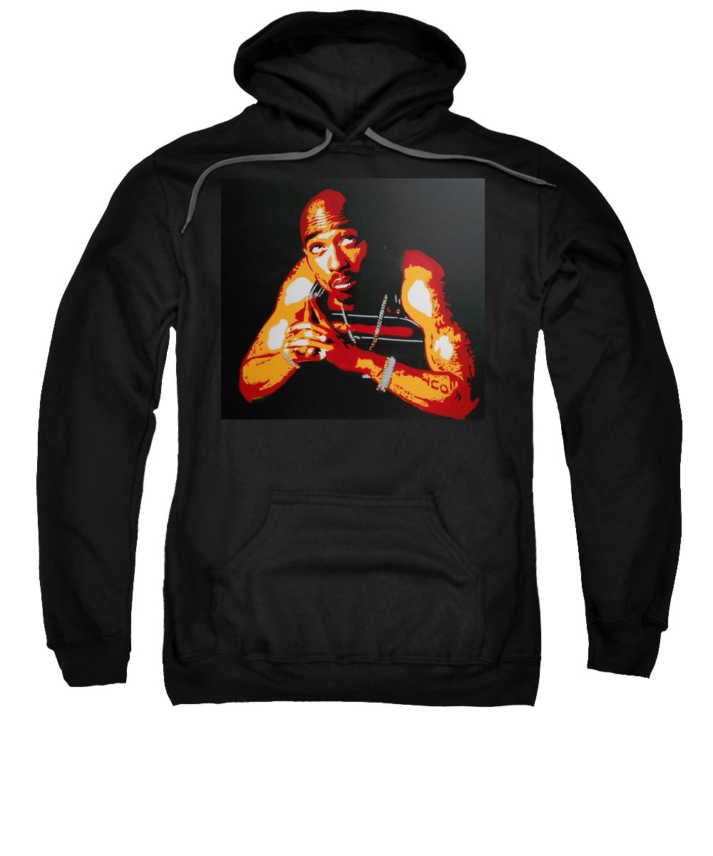 Canvas Sweatshirt featuring the painting Tupac Pray For A Brighter Day by Leon Keay