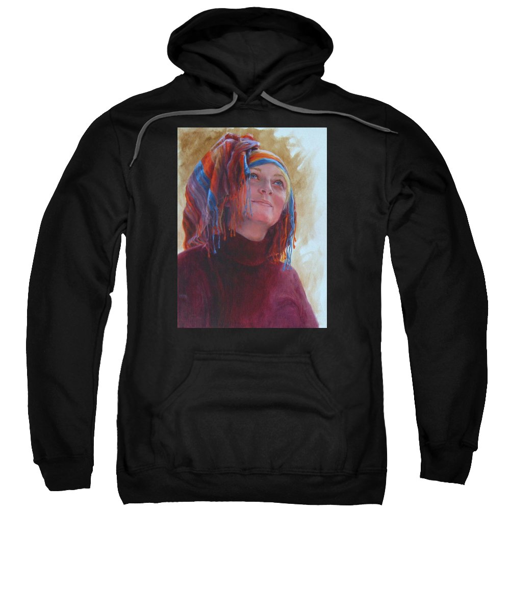 Figurative Sweatshirt featuring the painting Turban 1 by Connie Schaertl