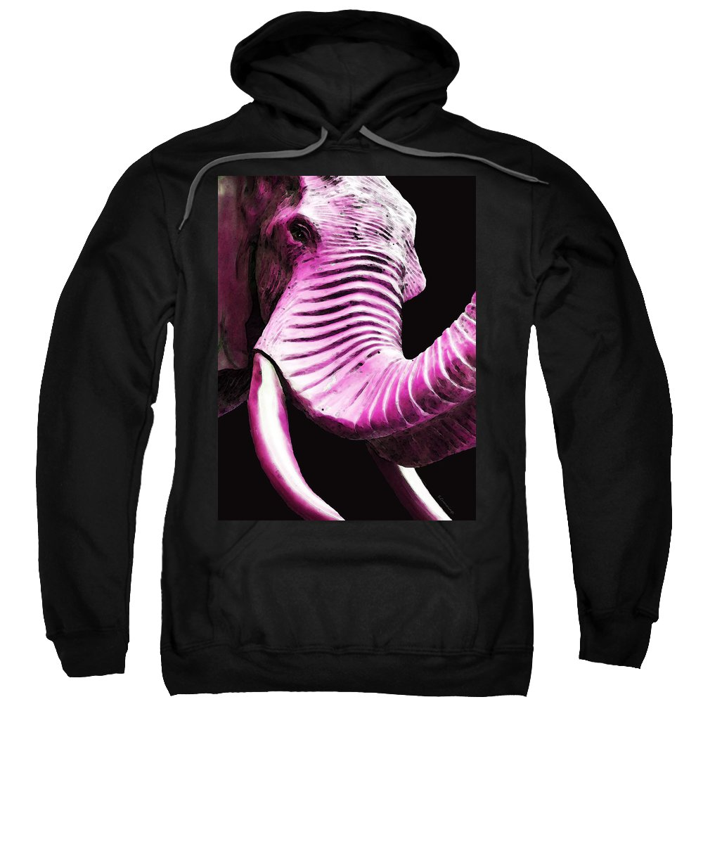 Buy Sweatshirt featuring the painting Tusk 2 - Pink Elephant Art by Sharon Cummings