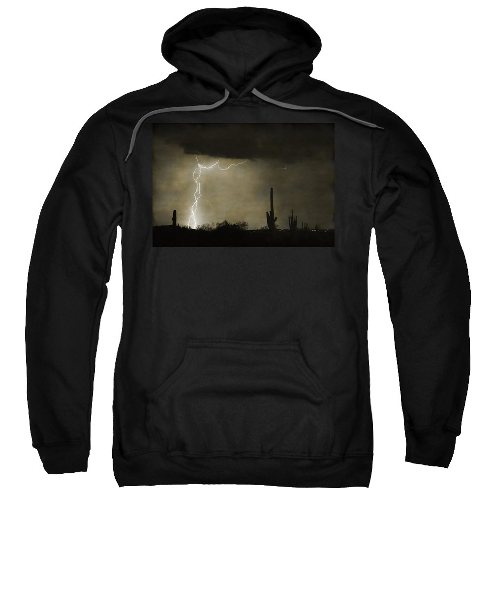 Saguaro Sweatshirt featuring the photograph Twisted Desert Lightning Storm by James BO Insogna
