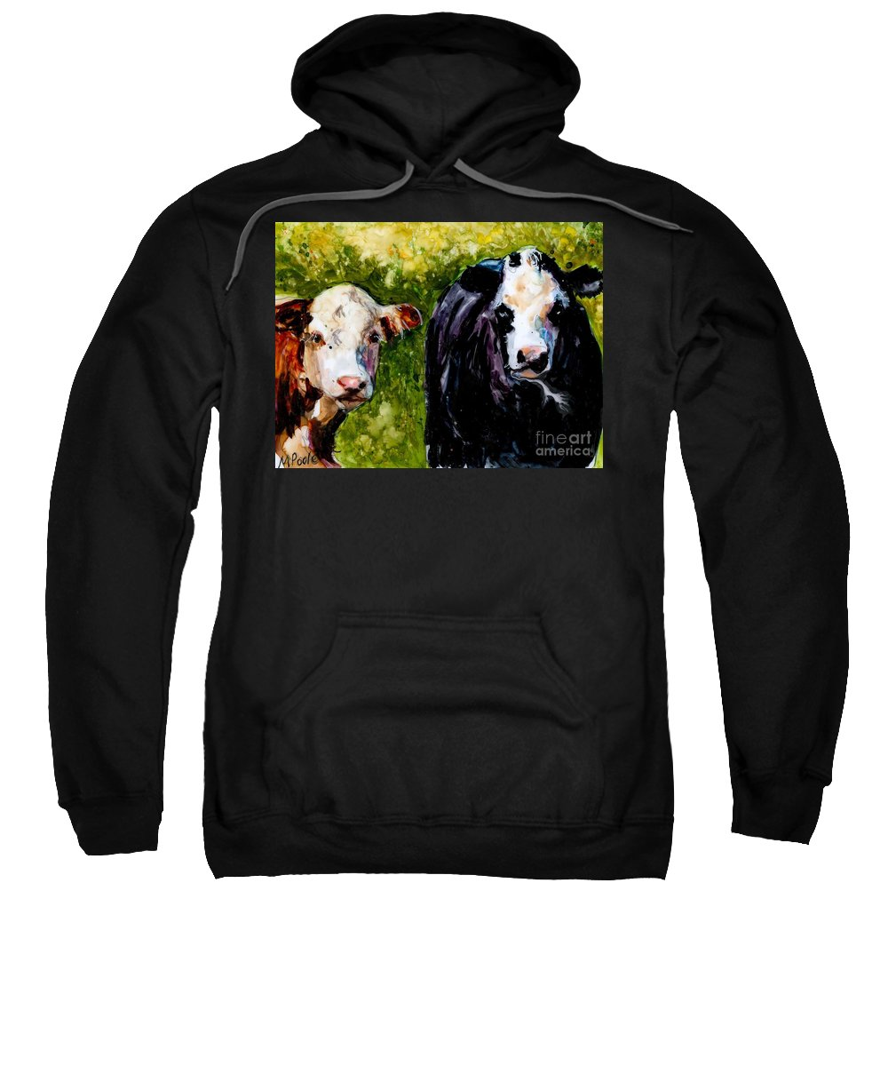 Cows Sweatshirt featuring the painting Two Cows by Molly Poole