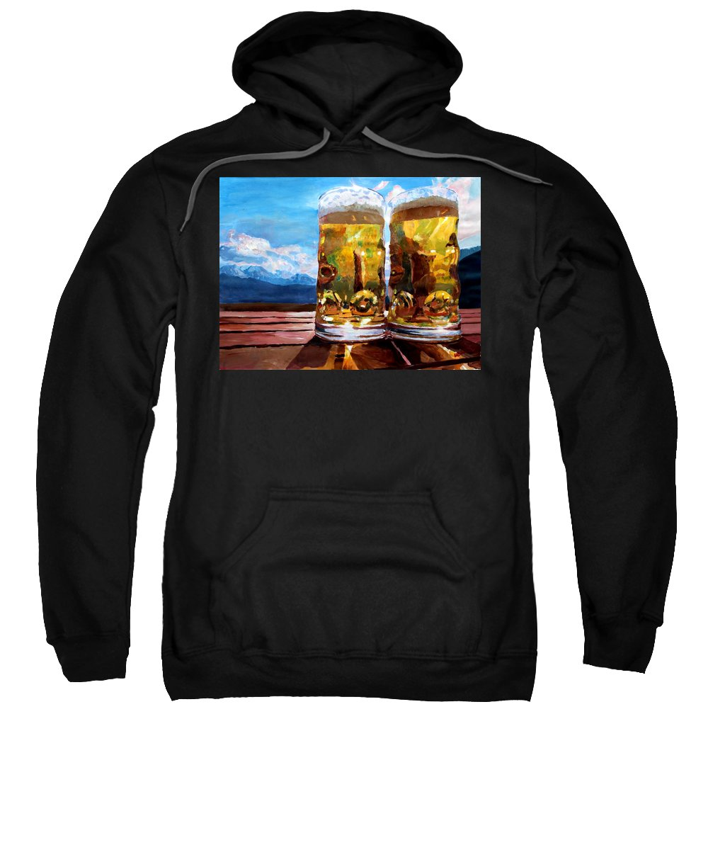 Beer Sweatshirt featuring the painting Two Glasses Of Beer With Mountains by M Bleichner