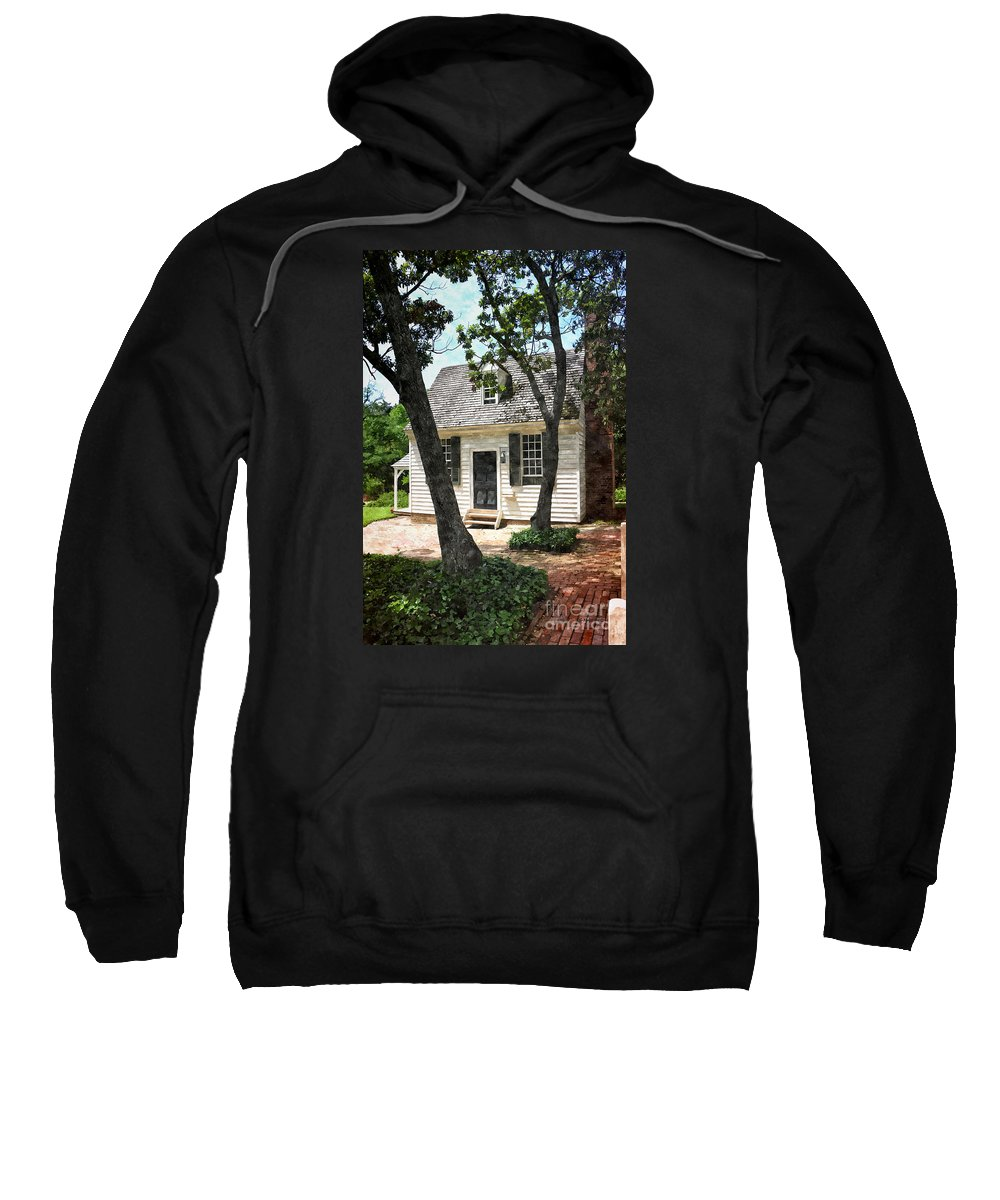 Cottage Sweatshirt featuring the painting Two Tree Cottage by Shari Nees