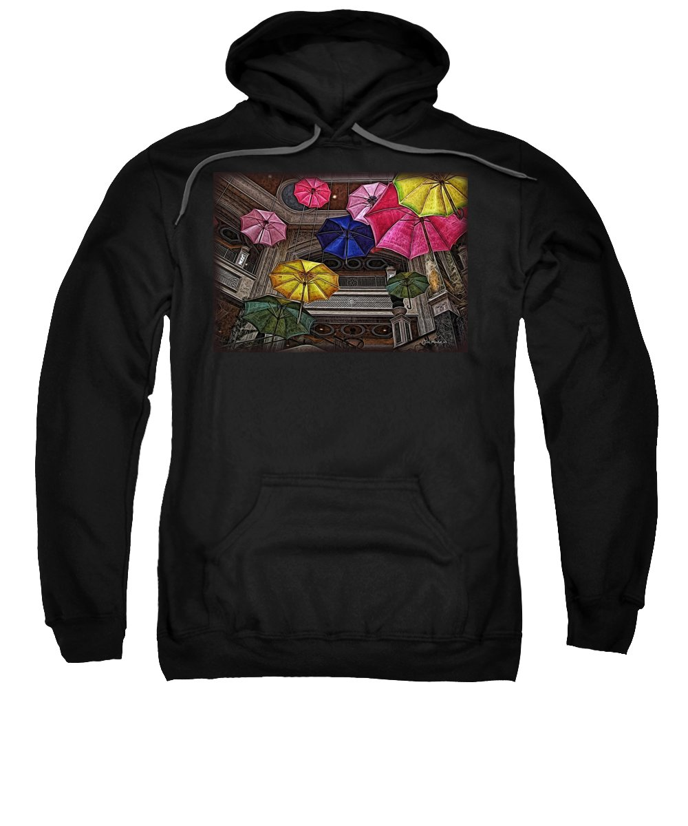 Umbrella Sweatshirt featuring the digital art Umbrella Fun by Joan Minchak