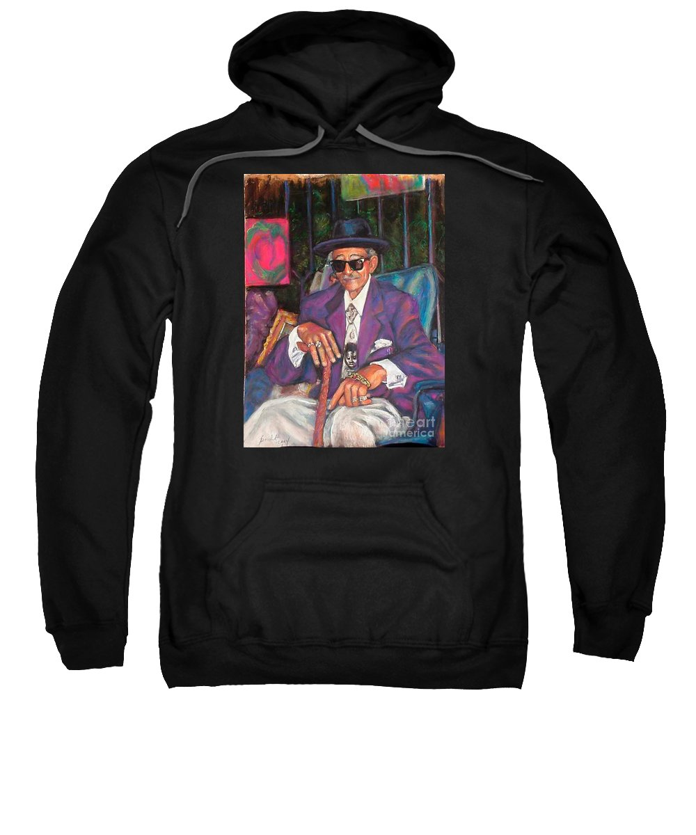 New Orleans Musician Sweatshirt featuring the painting Uncle With Time On His Hands by Beverly Boulet