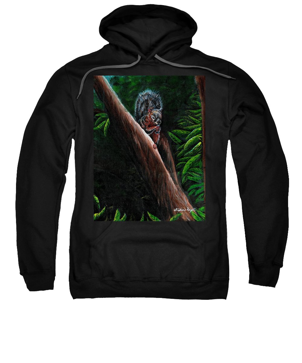 Squirrel Sweatshirt featuring the painting Union Squirrel by Stephanie Knight