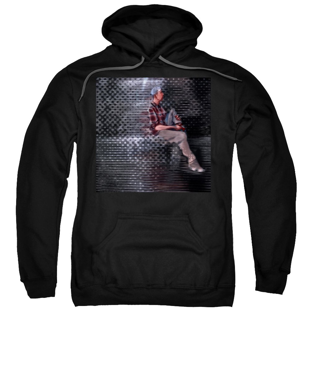 Portrait Sweatshirt featuring the photograph Universe Man Ties His Shoes by Suzy Norris
