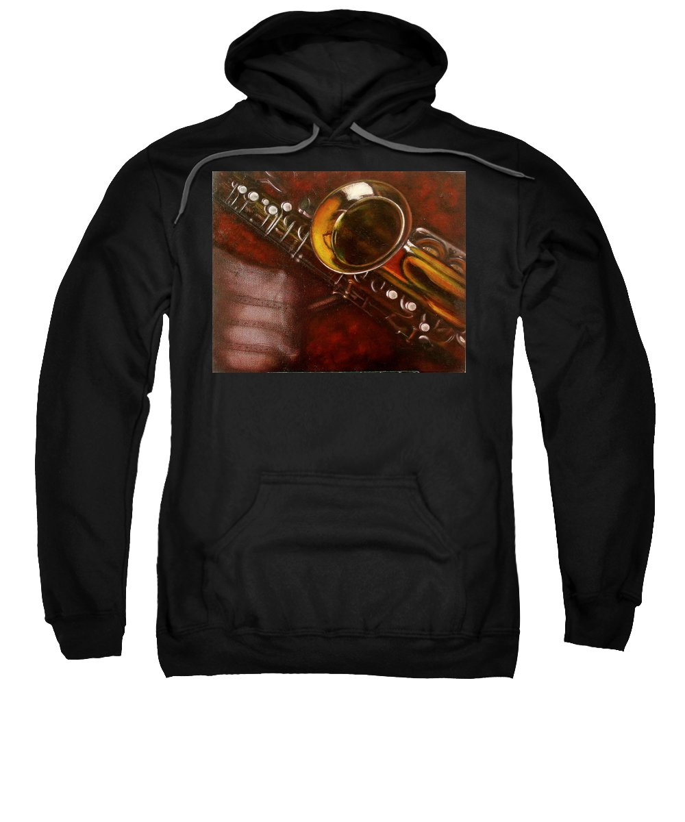 Still Life Sweatshirt featuring the painting Unprotected Sax by Sean Connolly