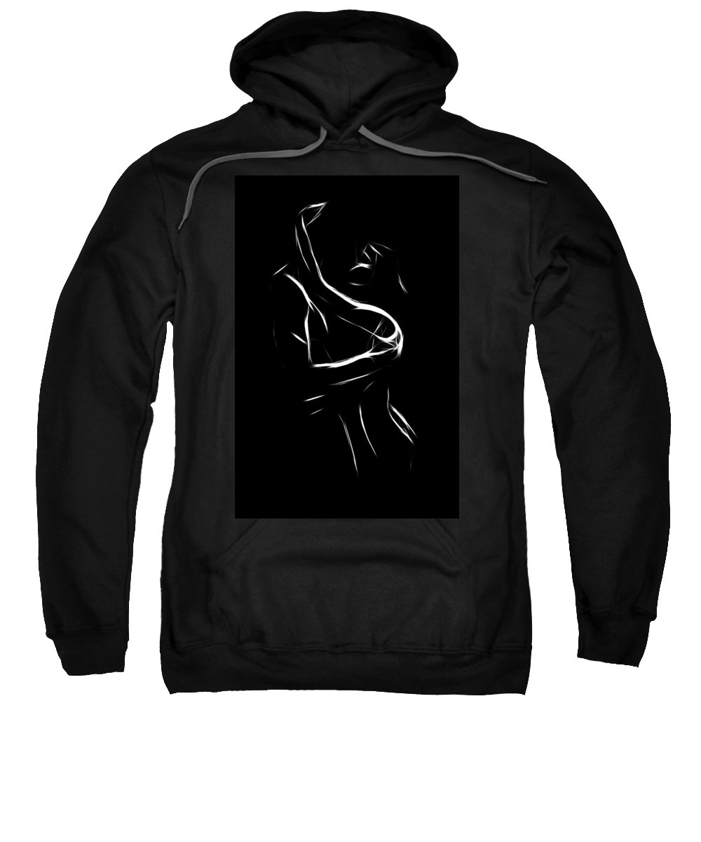 Couple Lover Lovers Love Loving Man Woman Girl Boy Female Male Nude Naked Black White Erotic Minimalism Painting Sweatshirt featuring the painting Until Dawn by Steve K