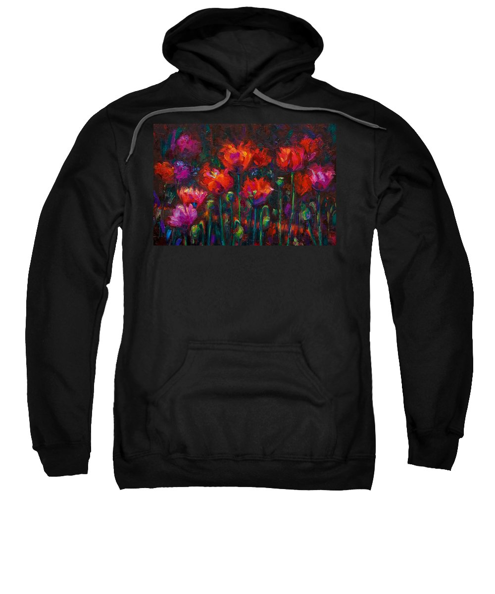 Poppy Sweatshirt featuring the painting Up From The Ashes by Talya Johnson