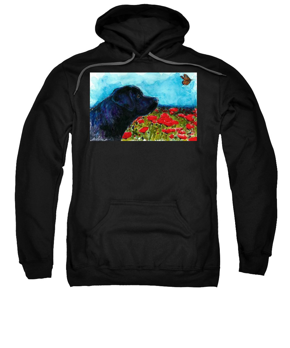 Black Lab Sweatshirt featuring the painting Updraft by Molly Poole