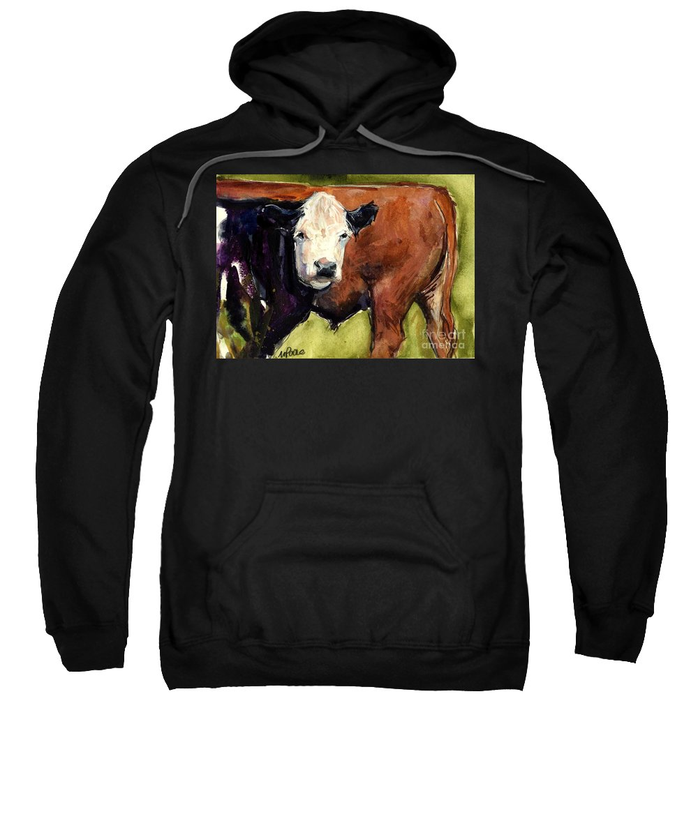 Cows Sweatshirt featuring the painting Upper Field by Molly Poole
