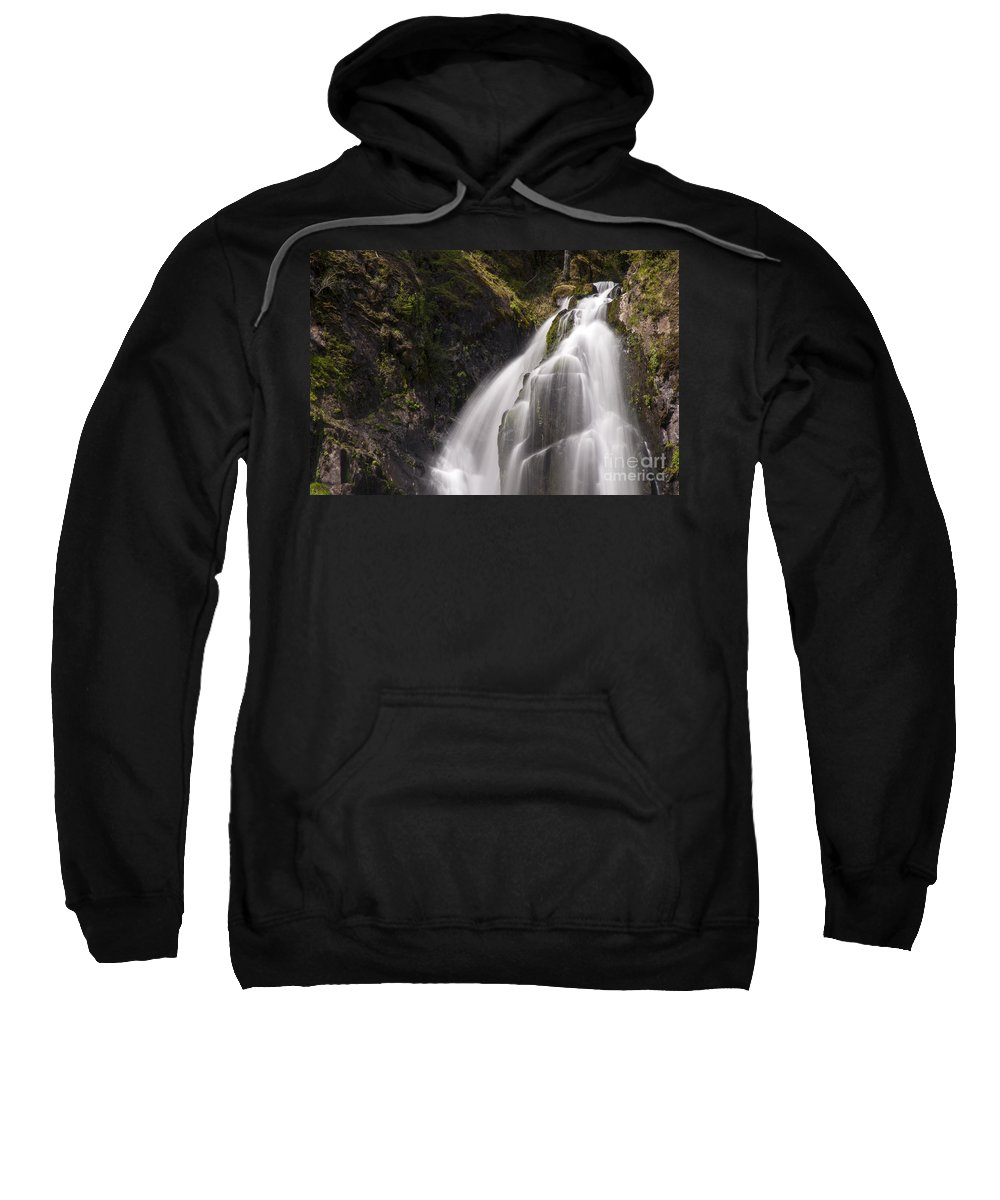 Kentucky Falls Trail Trails Smith River Sluslaw National Forest Oregon Water Waterfall Lower Stream Streams Waterfalls Park Parks Rivers Landscape Landscapes Waterscape Waterscapes Nature Fall Colors Autumn Foliage Sweatshirt featuring the photograph Upper Portion Of Lower Falls by Bob Phillips