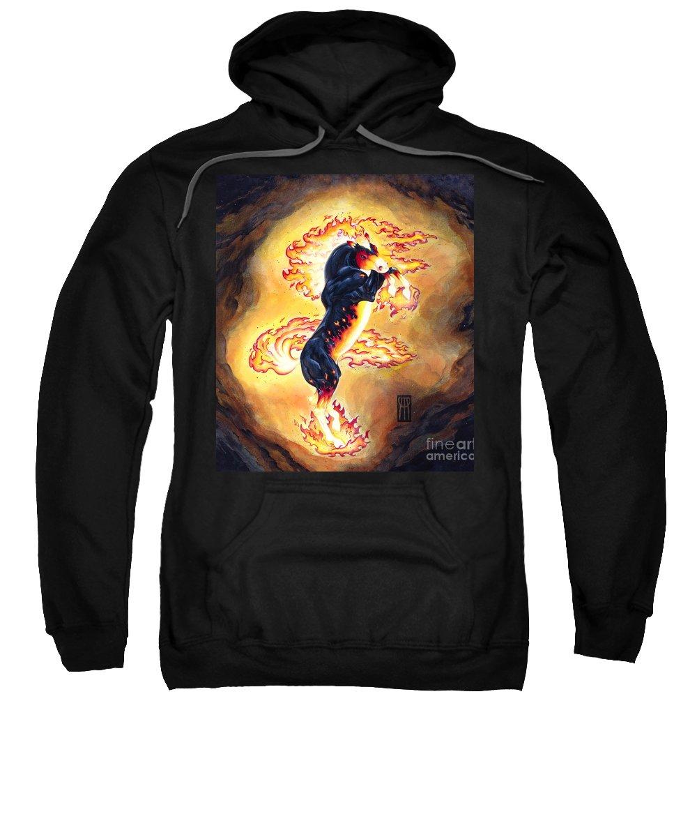 Melissa Benson Sweatshirt featuring the painting Upright Nightmare by Melissa A Benson