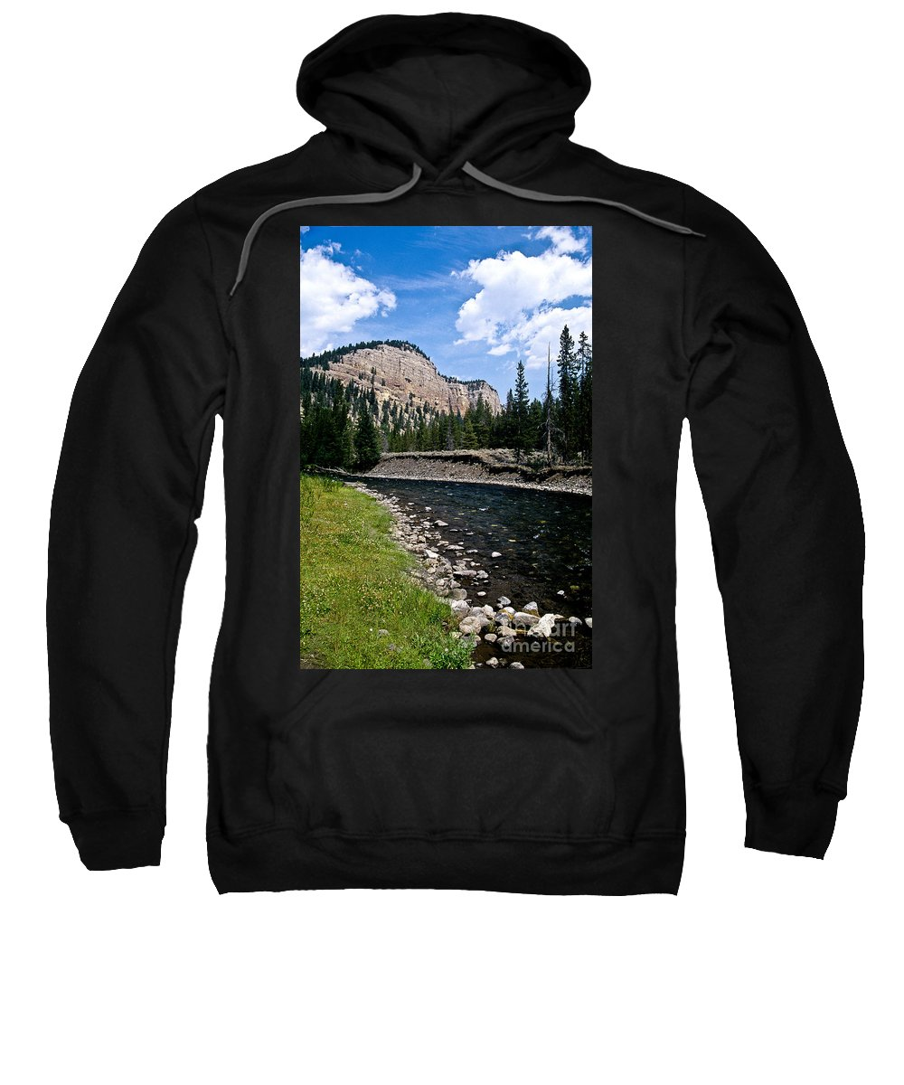 Landscape Sweatshirt featuring the photograph Upriver In Washake Wilderness by Kathy McClure