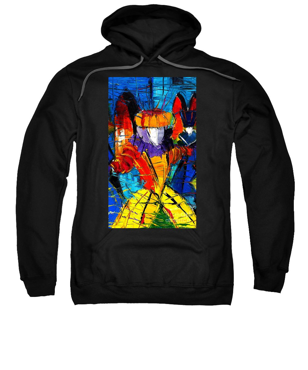 The Carnival Sweatshirt featuring the painting Urban Story The Venice Carnival 2 Painting Detail by Mona Edulesco