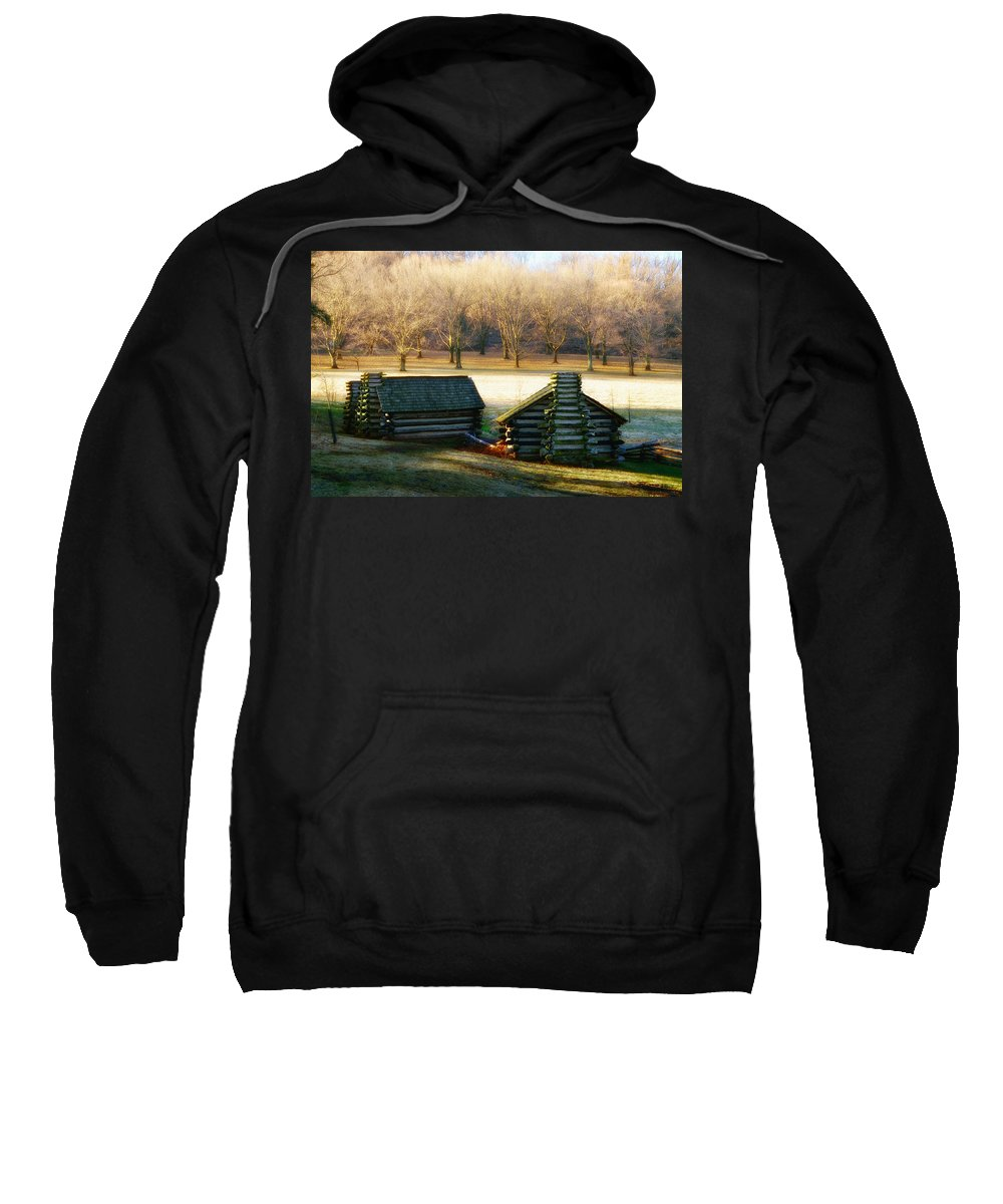 Valley Sweatshirt featuring the photograph Valley Forge Cabins by Bill Cannon