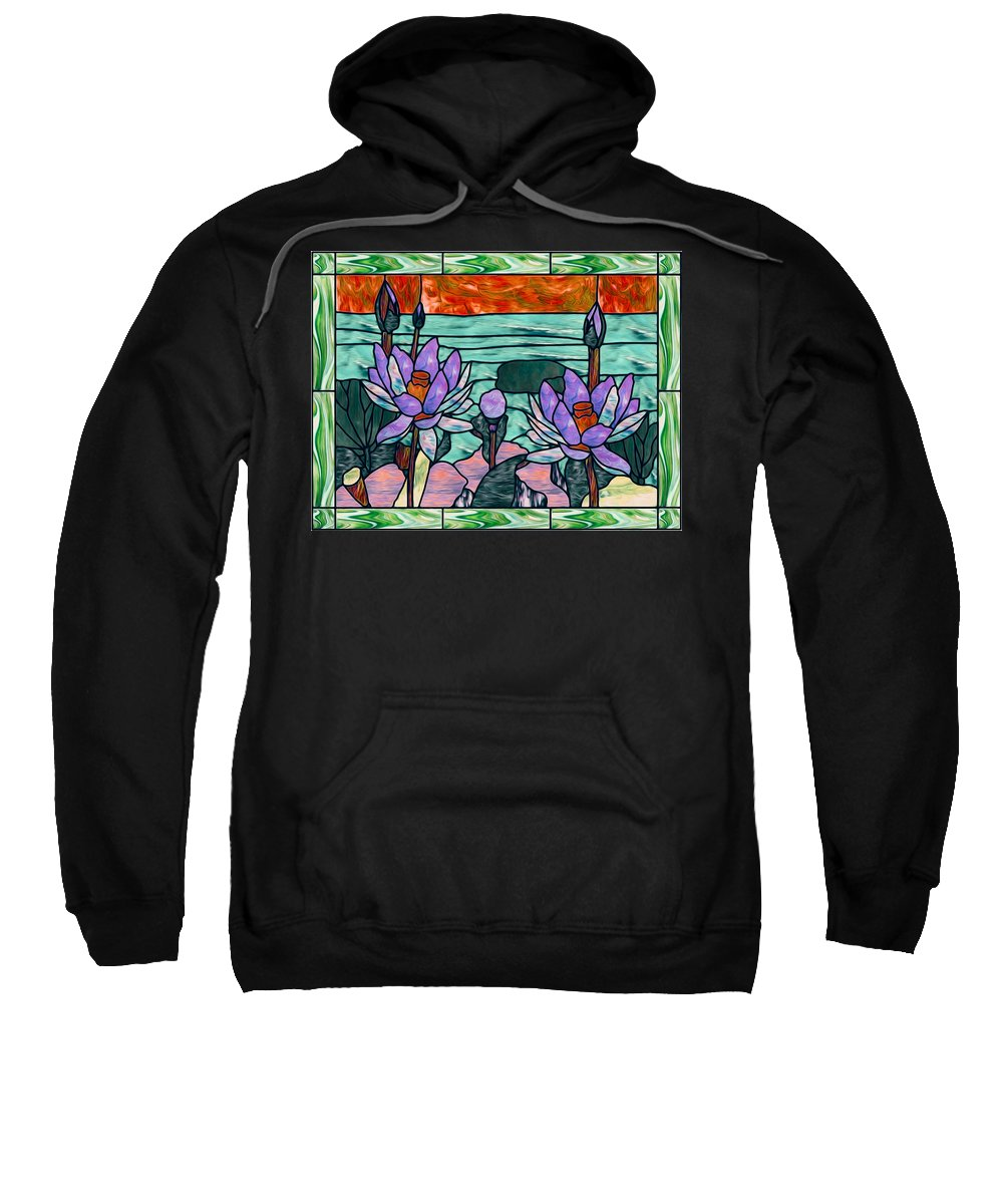 Glass Sweatshirt featuring the painting Vector Illustration Of Flower Sunflower In Stained Glass Window by Jeelan Clark