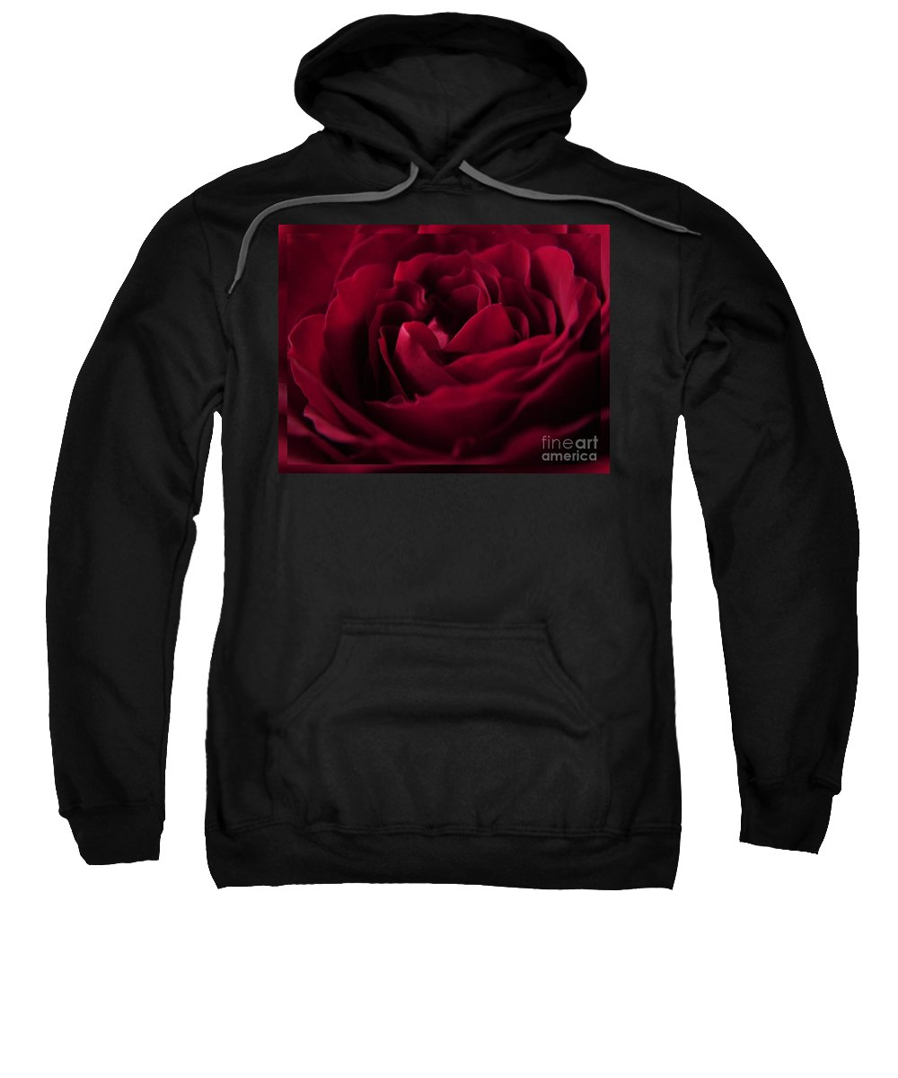 Red Rose Sweatshirt featuring the photograph Velvet Rose Mirrored Edge by Joan-Violet Stretch