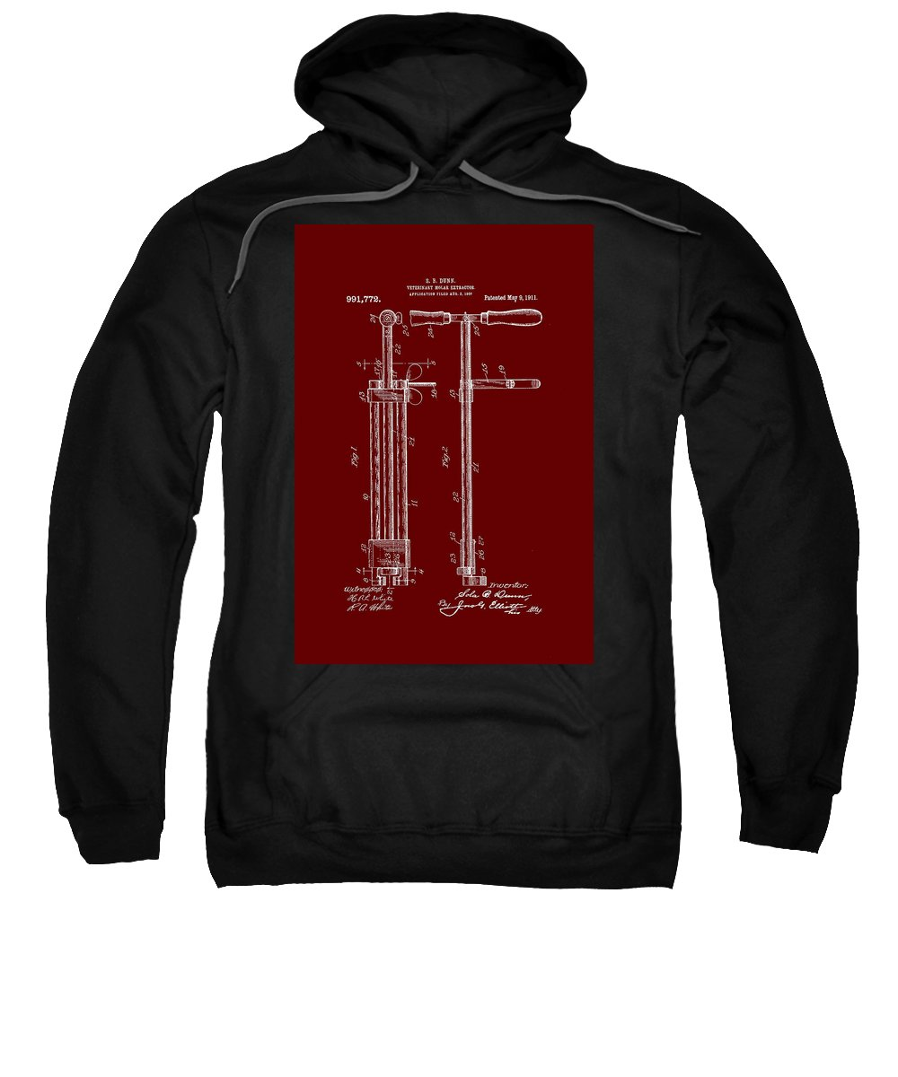Patent Sweatshirt featuring the drawing Veterinary Molar Extraction Patent 1911 by Mountain Dreams