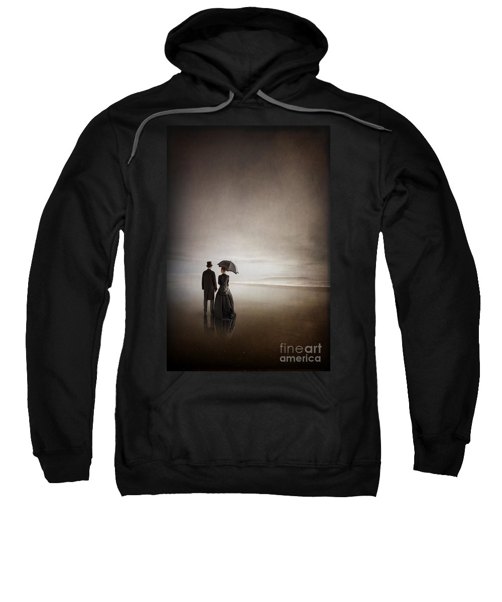 Victorian Sweatshirt featuring the photograph Victorian Couple On The Beach by Lee Avison