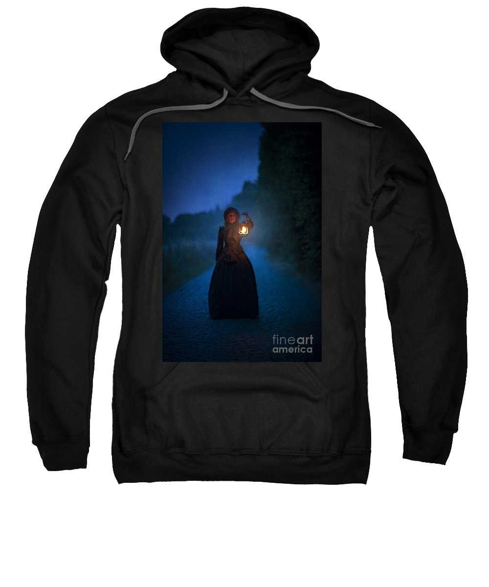 Victorian Sweatshirt featuring the photograph Victorian Woman Holding A Lantern At Night by Lee Avison