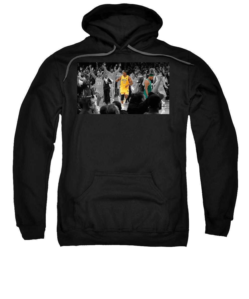 Andrew Bynum Sweatshirt featuring the mixed media Victory And Defeat by Brian Reaves