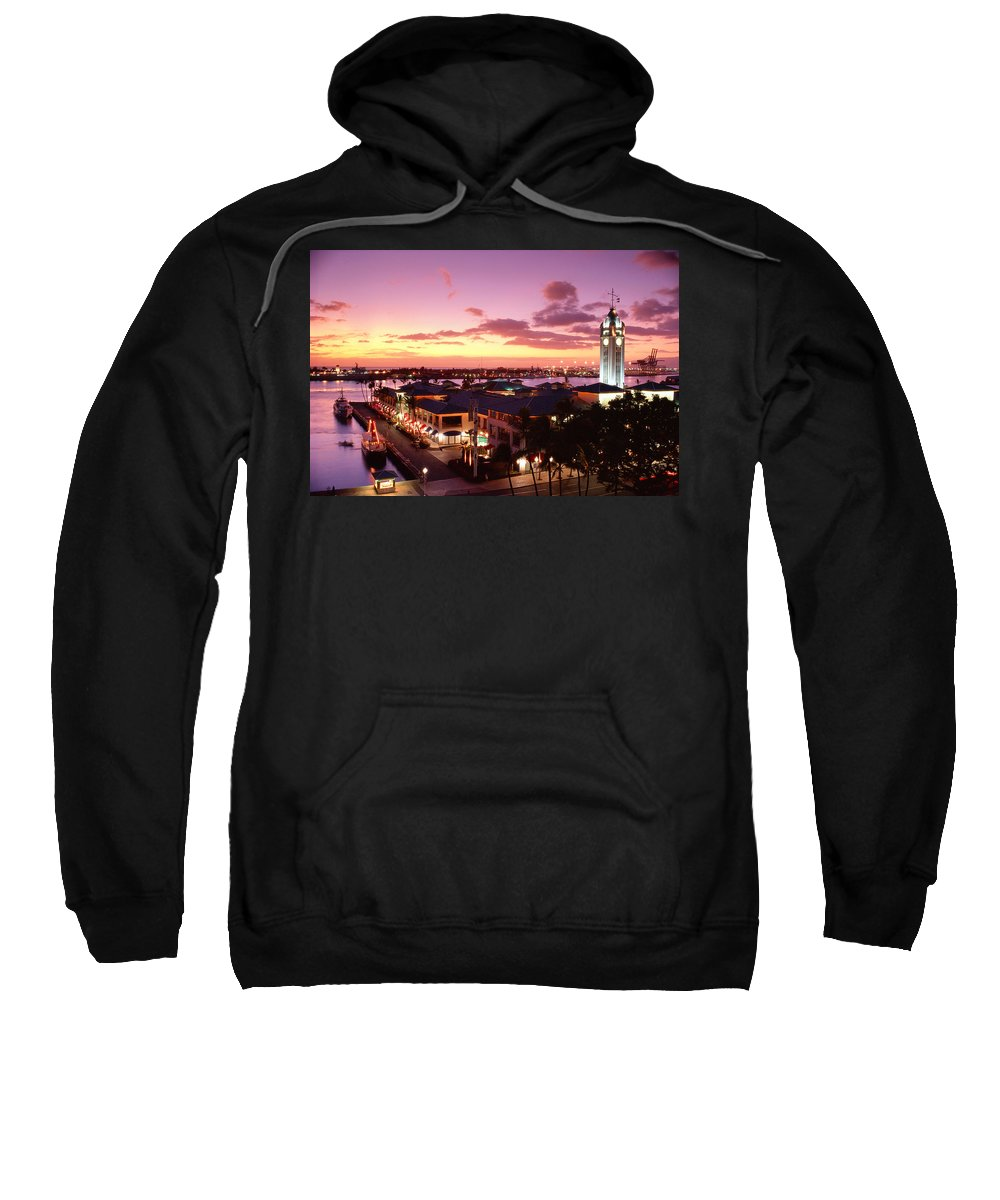 Aloha Sweatshirt featuring the photograph View Of Aloha Tower by Carl Shaneff - Printscapes