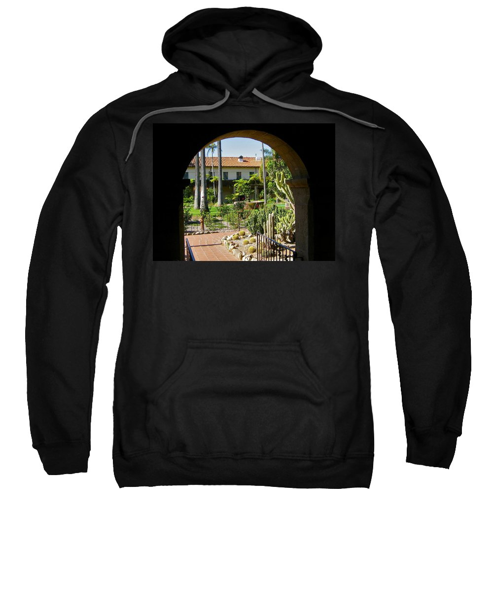 Mission Sweatshirt featuring the photograph View Of Santa Barbara Mission Courtyard by Denise Mazzocco