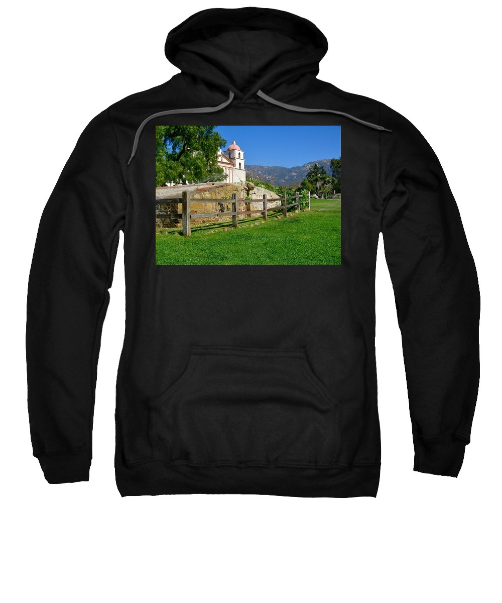 Mission Sweatshirt featuring the photograph View Of Santa Barbara Mission by Denise Mazzocco