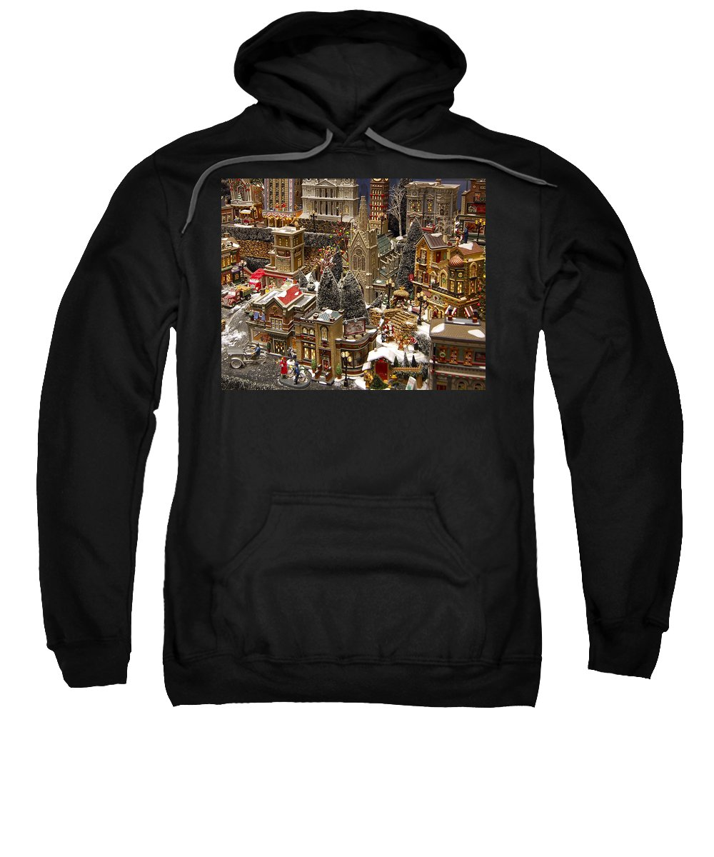 St Nick Sweatshirt featuring the photograph Village Christmas Scene by Jon Berghoff