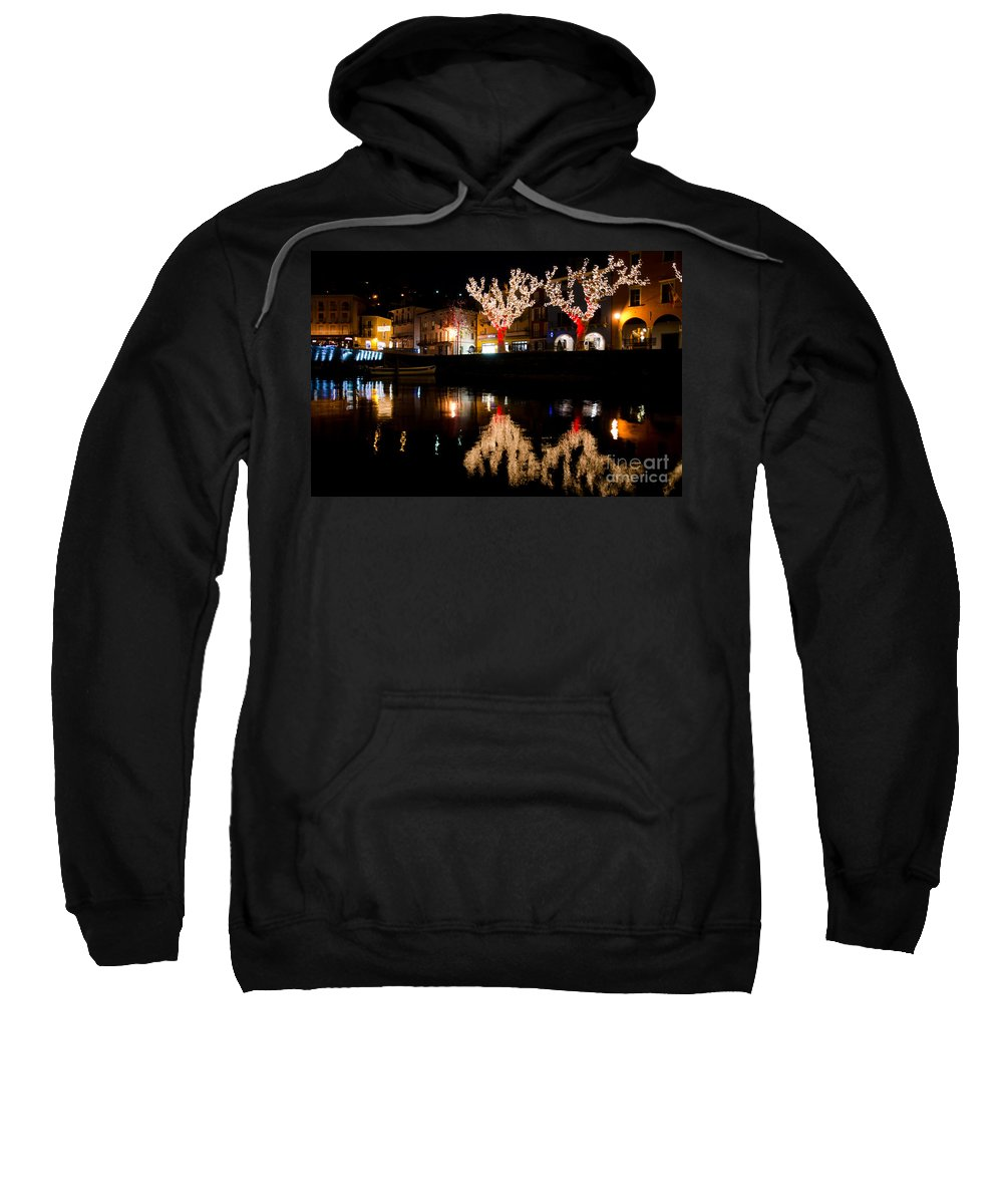 Village Sweatshirt featuring the photograph Village Reflected In The Water by Mats Silvan