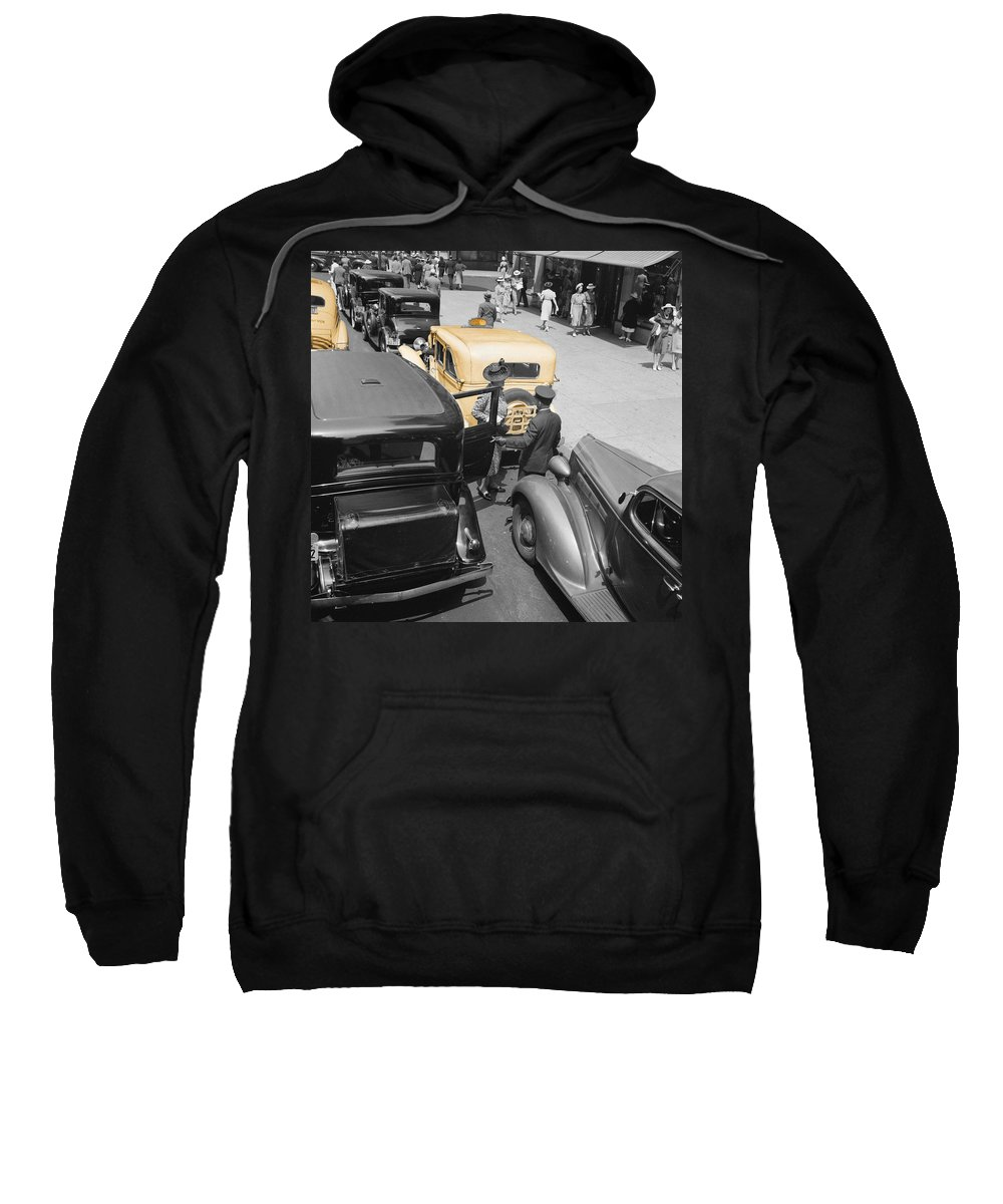 New York Sweatshirt featuring the photograph Vintage Checker Cabs by Andrew Fare