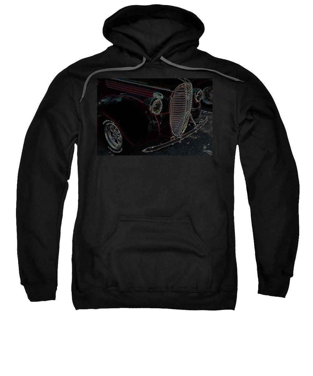 Ford Sweatshirt featuring the photograph Vintage Ford Neon Art Grill by Lesa Fine