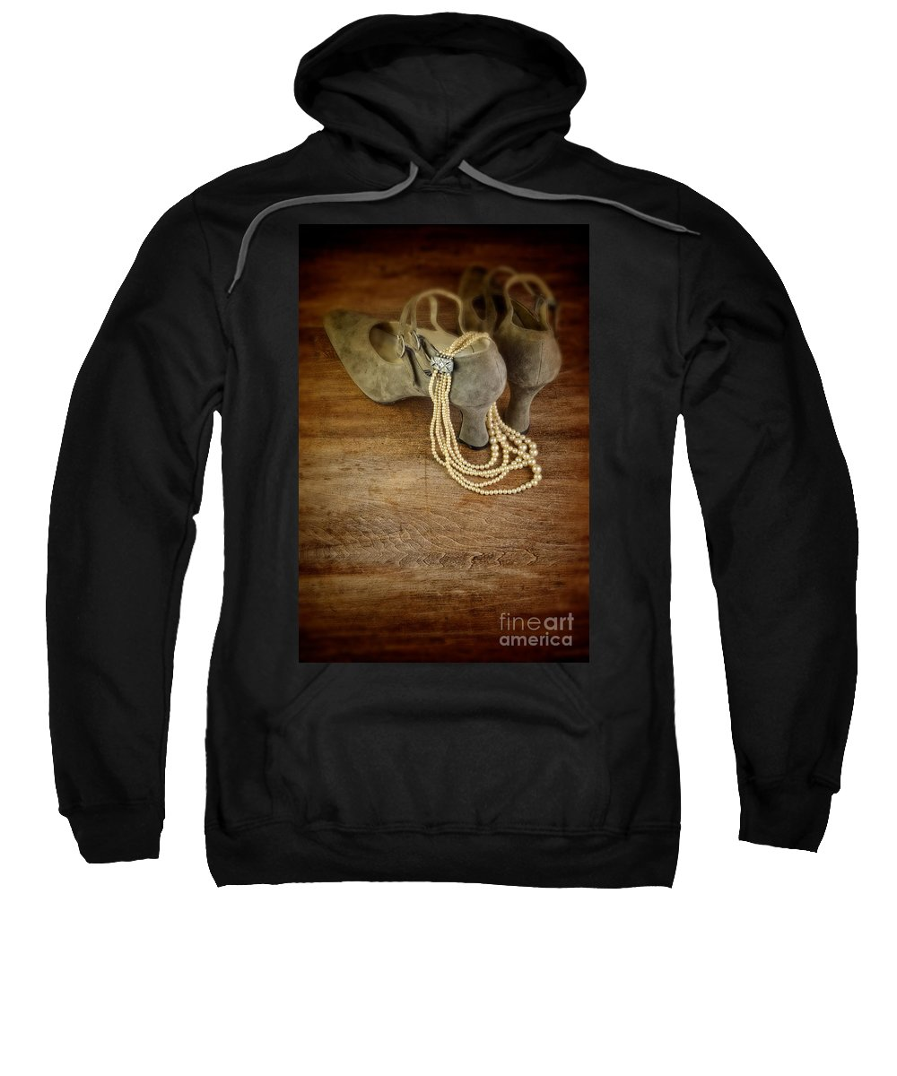 Shoes Sweatshirt featuring the photograph Vintage Shoes And Pearls by Jill Battaglia