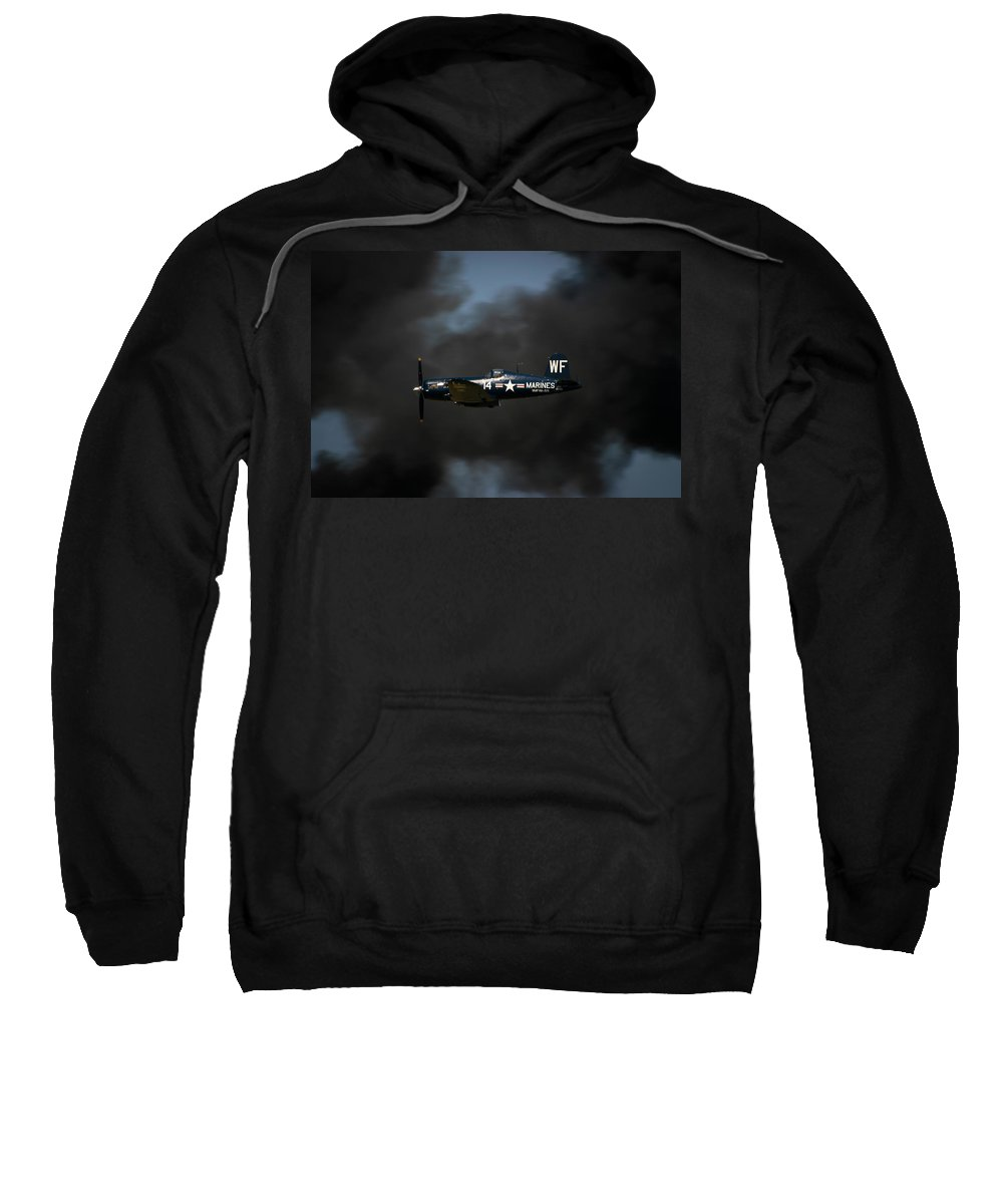 3scape Sweatshirt featuring the photograph Vought F4u Corsair by Adam Romanowicz